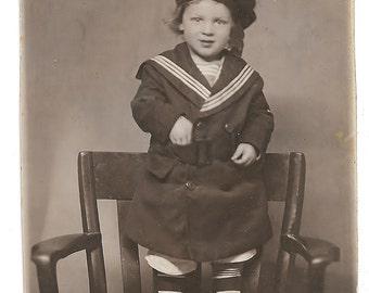 vintage Photo Postcard Little Boy Sailor Suit Hat 2 Year Old Walter Portland Maine