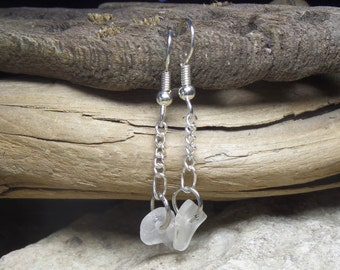 Lake Michigan beach glass earrings dangly drop style - eco friendly birthday gift for her - sea glass jewelry