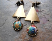 Vintage Tin and Brass Earrings, Floral, Orange, Antiqued Brass, Rustic Jewelry, Geometric, Triangle