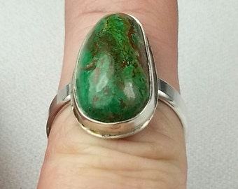 Chrysacolla Sterling silver Ring Size 11 dinner ring, cocktail ring, Ready to ship, Free US Shipping
