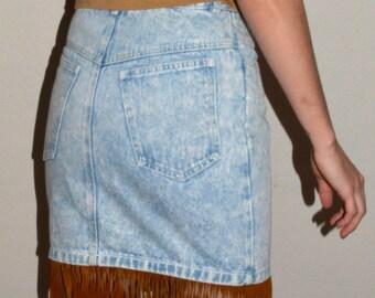 Acid Wash Denim Jean Skirt with Suede Fringe-Metal Rocker Rodeo 80's HOT!