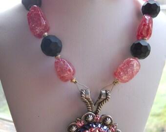Western Concho Necklace Swarovski Crystal Concho Raspberry ice flake Quartz Grape Glass Statement Piece Flashy Bold Jewelry Made in USA