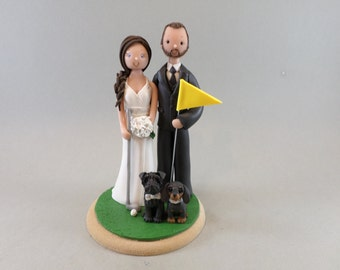 Bride & Groom with Dogs Personalized Golf Theme Wedding Cake Topper