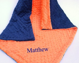 Navy and Orange Minky Baby Blanket for Baby Boy or Girl