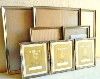 Collection of Vintage Gold Patina Metal Picture Frames 8x10 5x7 4x5 with Glass