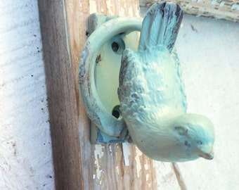 Metal Bird Door Knocker, Cottage Style, Garden Decor, New Home, Aqua Decor, Farmhouse