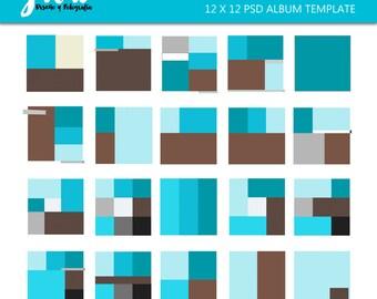 12 X 12 Photography Album template, Photobook templates 1 for Photoshop, Photoshop template, Photo Album, Scrapbook, Quick Page