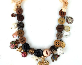 Vintage Antique HANDMADE Found Object Button CHARM Necklace