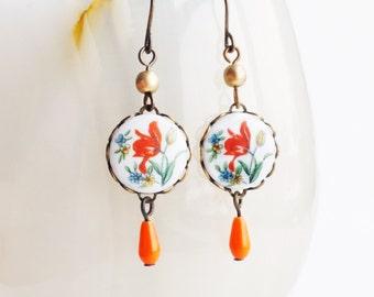 Tulip Earrings Vintage Flower Earrings Floral Cameo Earrings Victorian Floral Jewelry Red Orange Floral Romantic Cute Summer Jewellery