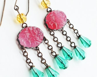 Pink Aqua Chandelier Earrings Vintage Carved Floral Glass Pink Cabochon Earrings Pink Glass Jewelry