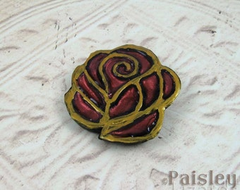 Marsala Rose Brooch, red gold mixed media flower pin