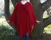 Luxurious Long Ruby Red Poncho in Silky Furry Boucle