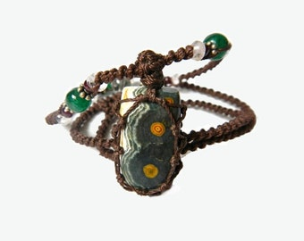 orbital ocean JASPER macrame necklace- Your Stone for HEALING and JOY - organic and rare healing crystal
