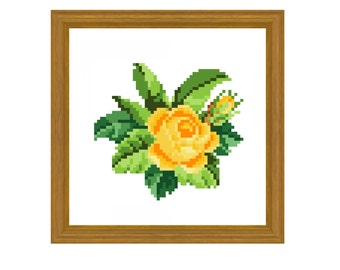 A yellow rose. Cross stitch pattern. Instant download PDF.