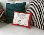 Nerd Pillow - Red Leather - Decorative Pillow, Throw Pillow - Hostess Gift Idea