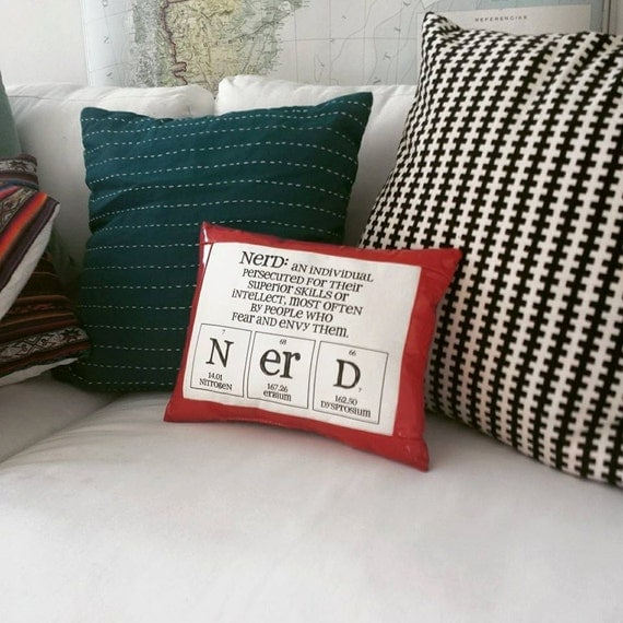 Red Leather Decorative Pillow : Nerd Pillow Red Leather Decorative Pillow Throw by ShopGibberish