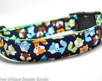 Fox Dog Collar / Skulk of Foxes / Lime Green, Navy, Brown / Custom Dog Collar