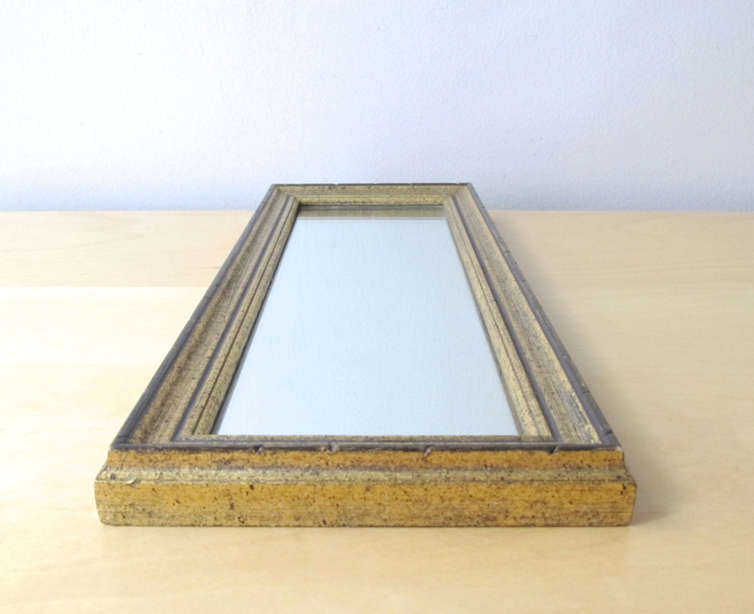 Tall rectangular wall mirror black and gold frame by for Tall gold mirror