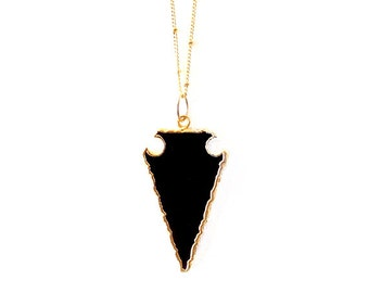 Gold Chain Gemstone Necklace - Onyx - Black, Gold - The Bohemian: Satellite Arrowhead