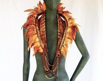 Feather collar, leather collar, feather neckacel, tribal, warrior, shaman, statement piece: Renegade Icon Designs; Rara Avis Collection