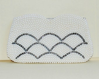 1950's Pearl Beaded Clutch - Elegant - Bridal - Wedding