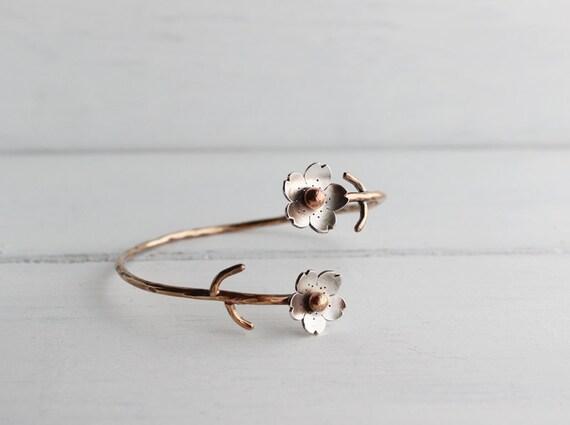 Cherry Blossom Bronze Cuff, Sakura bracelet, Spring Flower Cuff, Gifts for Mom, Gifts for her, Silver Plum Cuff