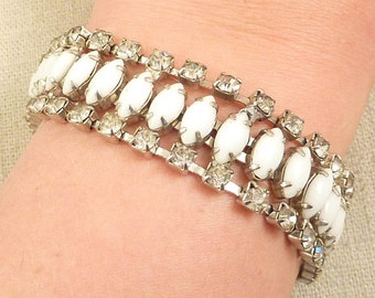 SUPER SALE ---- Vintage Rhinestone Bordered White Milk Glass Bracelet