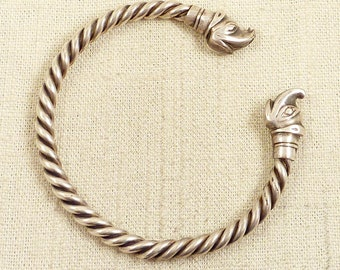Antique Sterling Twisted Rope and Dolphin Head Torc Bracelet