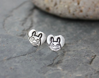 Tiny Totoro Smile Heart Post Earrings - Handmade fine silver charms on surgical steel posts- free shipping in USA