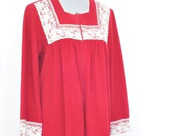 Vintage 70s Velour Maxi Robe // Nightgown // Loungewear //  Gown