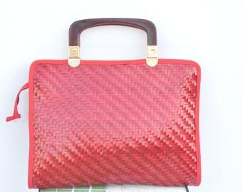 Italian Vintage 60s woven wicker handbag // retro style basket purse // vintage couture