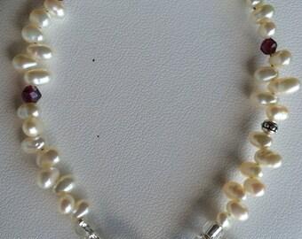 Bracelet — Zig Zag Freshwater Pearls, Sterling Square Heart Charm, Garnets