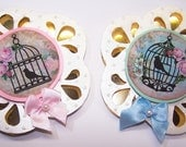 Bird, Birdcage, Scalloped, Card Toppers, Tin Toppers, Gift tags, Cards DIY, Card Making, Digital Artwork, Blue, Pink, Roses, Embossed, Gold