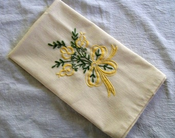 Hand Embroidered Tea Towel, Embroidery,  Yellow Roses