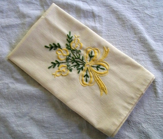 Rose Embroidered Towels: Hand Embroidered Tea Towel Embroidery Yellow Roses
