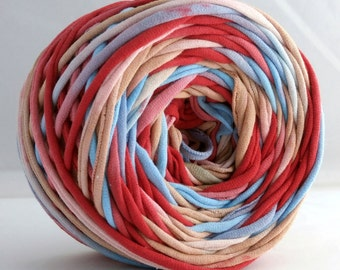 Hand Dyed T shirt Yarn 60 yards- Aqua/Red/Tan