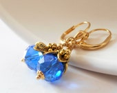 Blue Crystal Bridesmaid Earrings, Cobalt Wedding Sets, Royal Blue and Antiqued Gold Beaded Dangles, Bridal Party Gifts, Handmade Jewelry