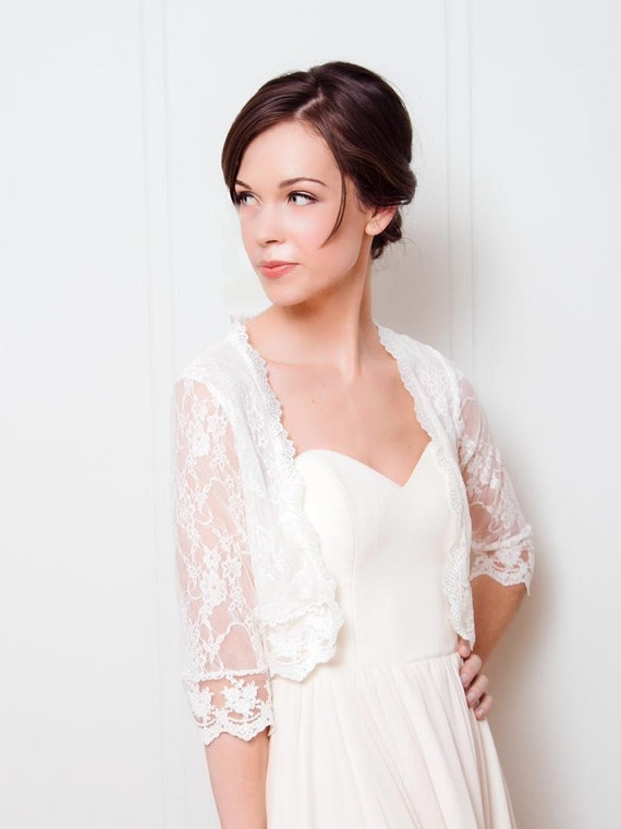 jacket ivory lace wedding shawl bridal lace topper wedding dress