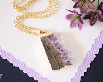 Amethyst Slice Crystal Pendant, Amethyst Necklace, Amethyst Slice, Gold Amethyst Slice, AMS117