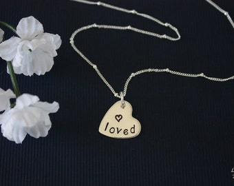 Loved Necklace Personalized, Mom Necklace, Sterling Silver Chain, Sweetheart, Heart Charm, Love, Mother Gift, Monogram, Mothers Day Gift
