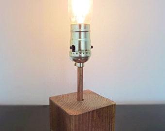 Wood Block Lamp with Edison Bulb