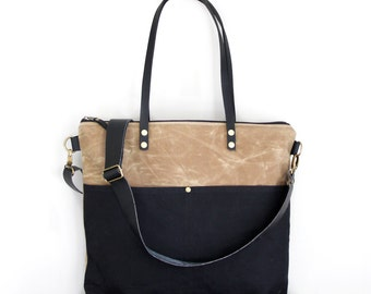 Waxed Canvas Tote in Tan and Black with Exterior Pockets