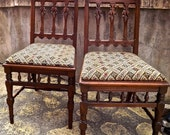 SUPER SALE  HALF Price!  Pair of Victorian Eastlake Side Chairs Upholstered Seats