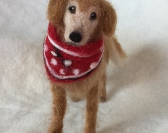 Needle Felted Dog, Wool Pet Portrait, Golden retriever Senior