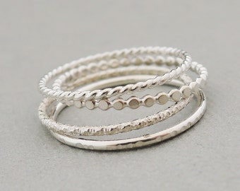 Sterling Silver Rings Stacking Rings set of 4 bead ring twist ring diamond cut ring thin silver stackable rings
