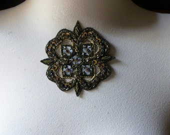Beaded Applique Exquisite in Gold & Dark Olive no 28 for Bridal, Handbags, Belly Dance Costumes, Jewelry Design, Home Decor.