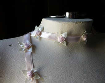 Satin Ribbon with Flowers & Bows in Pink for Bridal, Garters, Headbands, Christening Gowns, Reborn, Costumes