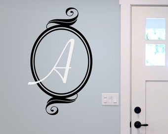 Monogram Wall Decal, Initial vinyl decal, family decal, Monogram frame, wedding gift, personalized initial decal,
