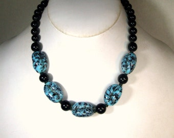 Black and Blue Glass Necklace 1950s , Mid Century Adjustable Length Choker, Czech Beads