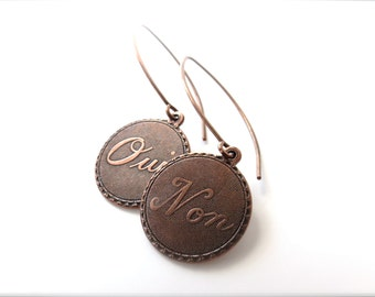 "Rustic Metal French Word Charm Earrings - ""I Am Unsure"" (Oui & Non) - Funny Earrings, Sayings, Paris, Long Hand Made Antique Copper Wires"